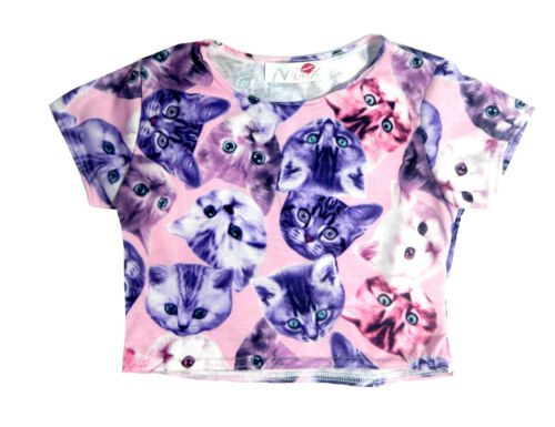 New Kids Girl/'s Cat Kitten Crop Short Top Blouse    Ages 7-13 Years
