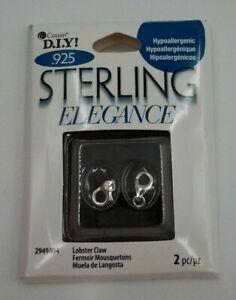 2 pc Lobster Claw DIY Sterling elegance Jewelry supply  Hypoallergenic NIB