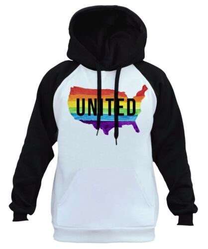 New Men/'s United Rainbow USA Map White Raglan Hoodie Gay LGBT Lesbian Pride B809