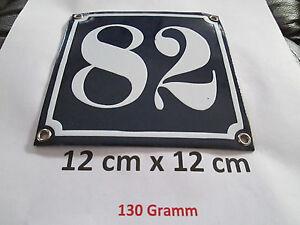 Hausnummer  Emaille Nr. 82  weisse Zahl auf blauem Hintergrund 12 cm x 12 cm