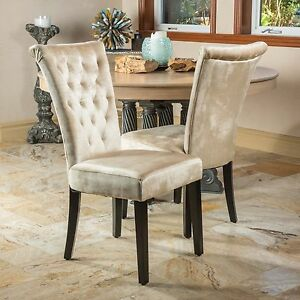 Set Of 2 Dining Room Champagne Velvet Dining Chairs W
