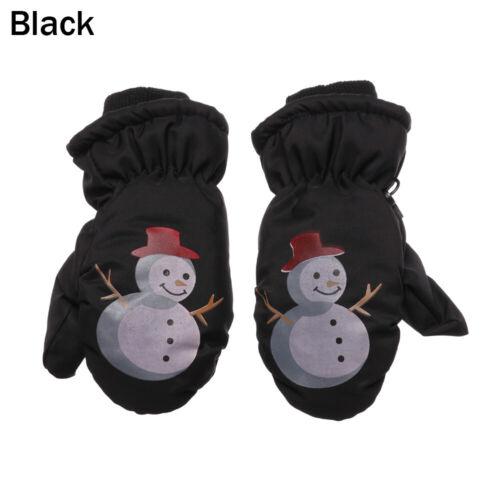 Cartoon Snowman Kids Knitted Mittens Thick Velvet Windproof Children Ski Gloves
