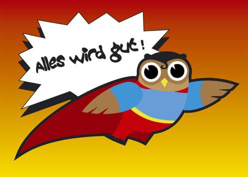 2 cartes postales Hiboux Carte de voeux super-on Hibou tout ira bien superman sauveur NEUF