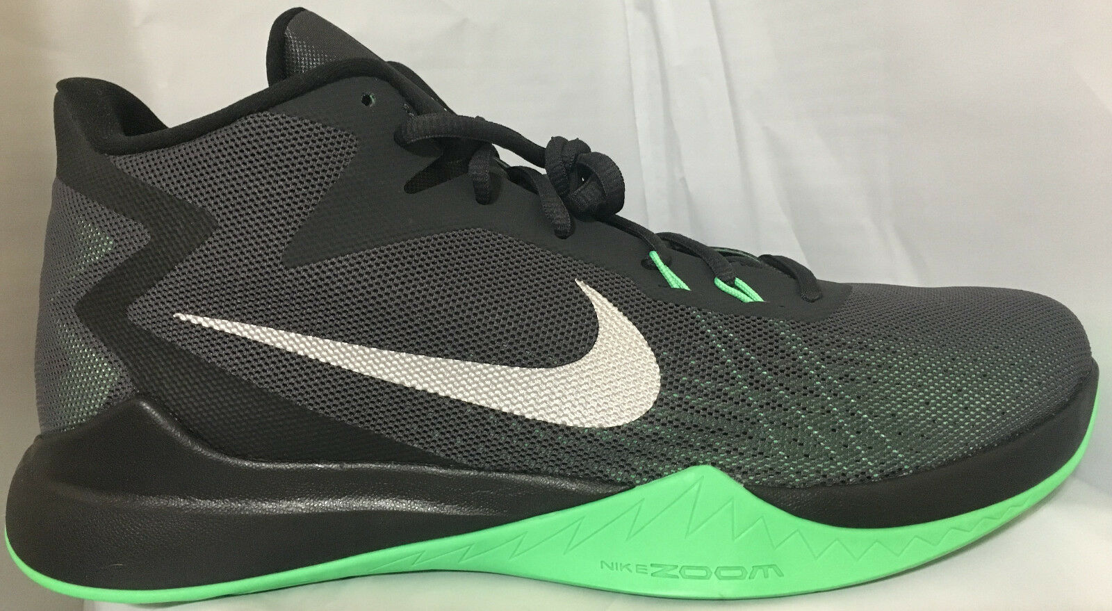 NIB NIKE 852464 003 ZOOM EVIDENCE Uomo COOL ANTHRACITE/GRN BASKETBALL SHOES  90
