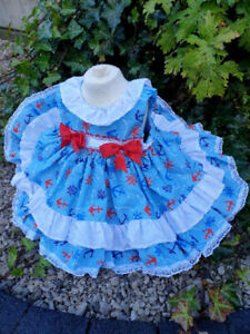 DREAM LEMON NAVY  TRADITIONAL LINED GIRLS  DRESS 0-5 YEARS or reborn dolls