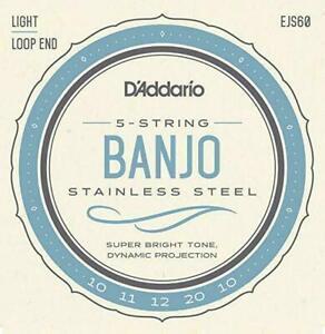 D'Addario EJS60 Stainless Steel 5-String Banjo Strings Light 10 - 20 *New Look*