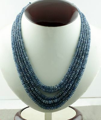 Best Offer Earth Mined 122.50 Cts Blue Sapphire Round Faceted Beads Necklace