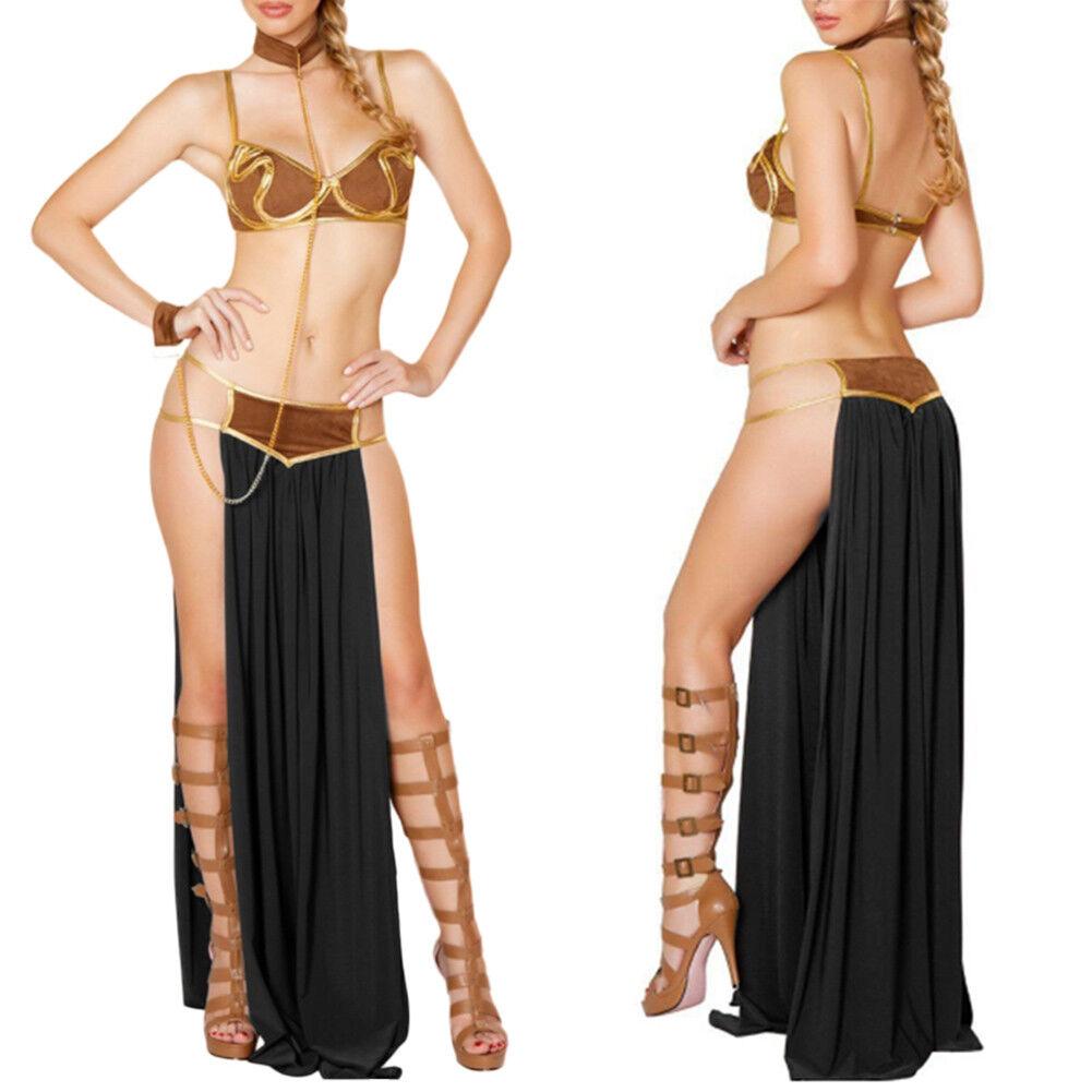 Costume Princess Leia Slave Miss Manners Lady Lingerie Uniform Long Dress CA UK