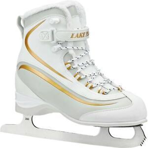 Lake-Placid-EVEREST-Women-039-s-Soft-Boot-Figure-Ice-Skate-White-Gold