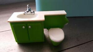 Vintage 1978 Fisher Price Dollhouse #253 Bathroom Sink /& Toilet