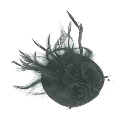 Women Hair Clip Feathers Small Mini Top Hat Wedding Fascinator Royal Ascot Race
