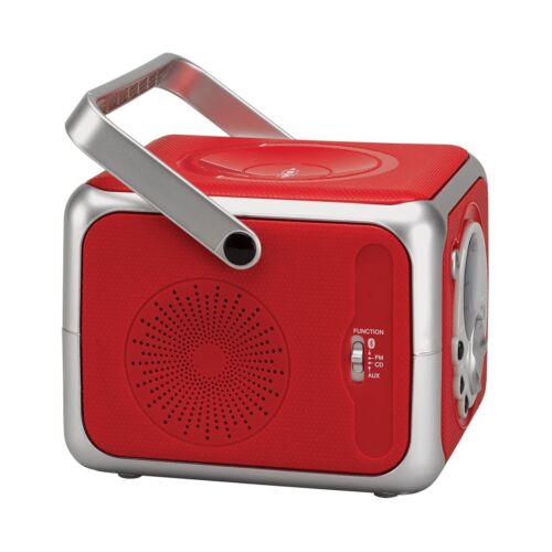 Jensen CD-555 Red CD Bluetooth Boombox Portable Bluetooth Music System with C...