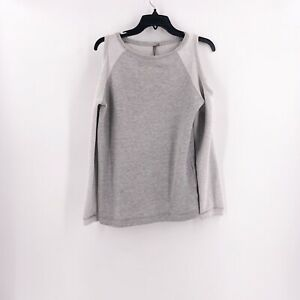 Sweaty-Betty-Size-Small-Cold-Shoulder-Sweatshirt-Sweater-Top-Gray-Long-Sleeve
