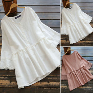 ZANZEA-8-24-Women-Cotton-Plain-Basic-Loose-Button-Up-Top-Tee-T-Shirt-Lace-Blouse