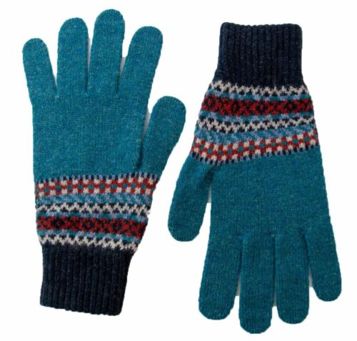 Made in Scotland Men/'s Lambswool Fairisle Lochinver Gloves Various Colours