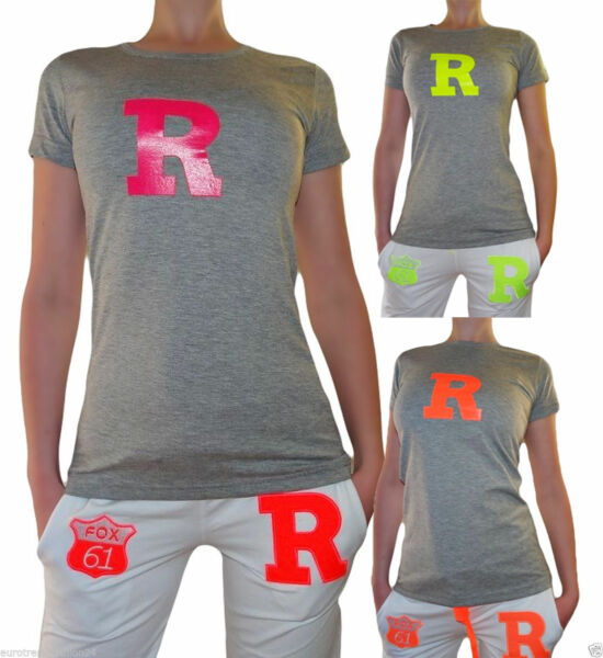 Damen Neon Top T-Shirt College Sportshirt Shirt Oberteil T-Shirts XS S M L
