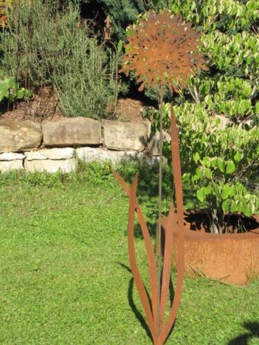 Edelrost Gartenstecker Schmucklilie 140-170 cm Edelrostblume Metallblume Blume