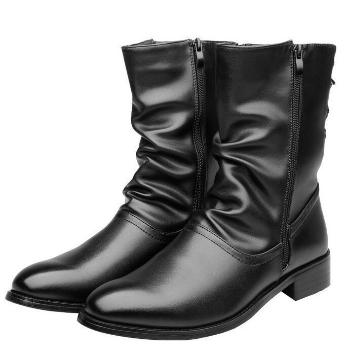 botas para Hombre Mitad de Pantorrilla Alta Top bajo Grueso Cremallera Lateral Negro Invierno Informal Zapatos Talla