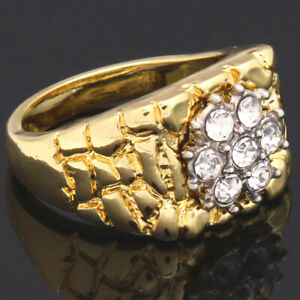 Mens-Nugget-Ring-14k-Gold-Plated-Cluster-CZ-Bling-Hip-Hop-Band-Size7-12