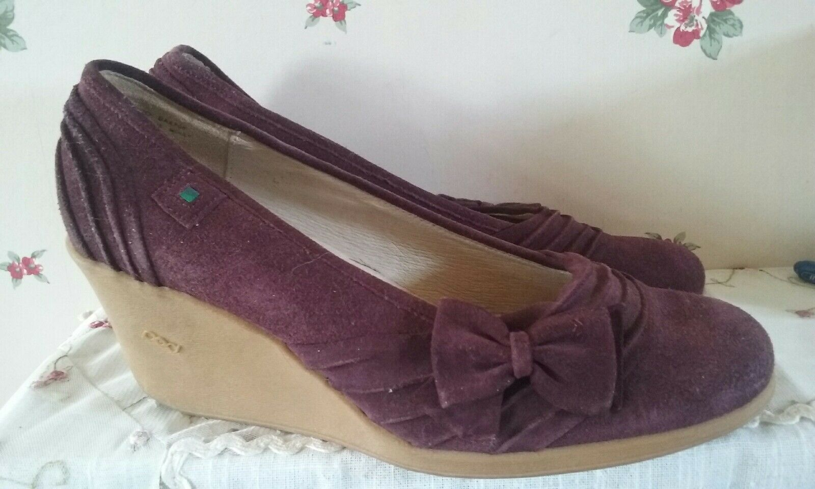 Pod burgundy suede bow wedge heel chaussures 7 40