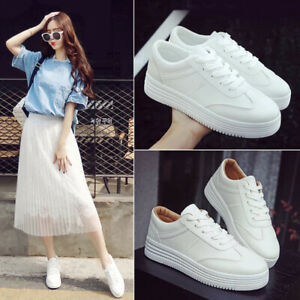 Summer-Women-039-s-Casual-White-Sports-Sneakers-Breathable-Platform-Lace-Up-Shoes