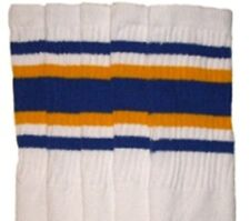 """30"""" OVER THE KNEE WHITE tube socks with ROYAL BLUE/GOLD stripes style 4 (30-1)"""