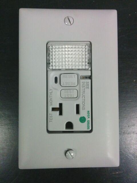 P&S Pass & Seymour GFCI LED Nightlight Gray Hospital Grade 20 Amp 2095-HGNTLGRY