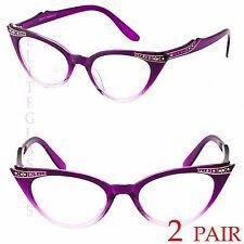 f7180e7da81 2 PAIR 50s Vintage Cat Eye Clear Lens Glasses Rhinestone Women Retro  Sunglasses