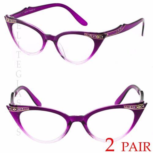 2 PAIR 50s Vintage Cat Eye Clear Lens Glasses Rhinestone Women Retro Sunglasses
