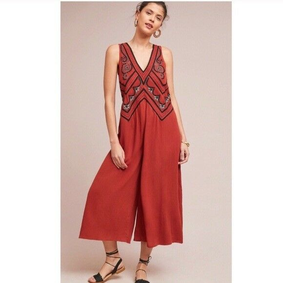 148 Anthropologie  Desert Embroidered Jumpsuit  12 new with tag