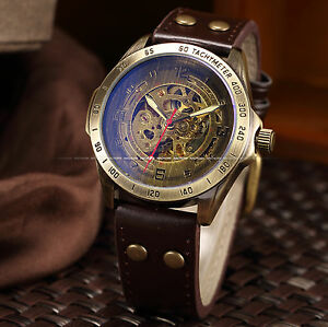 Men-Automatic-Mechanical-Skeleton-Bronze-Leather-Band-Wrist-Business-Watch-Mv