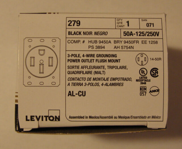 Leviton 279 3-Pole 4-Wire Grounding Power Outlet 50Amp 125/250Volt Black NEW!