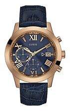 Guess Iconic Blue Signature Rose Gold Date Chronograph Quartz Watch W0669G2
