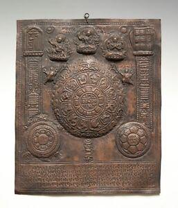 Blechschild-aus-Kupfer-stark-gepraegt-Astronomischer-Kalender-TIBET-wohl-um-1955