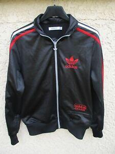 Détails sur Veste ADIDAS CHILE 62 TREFOIL noir tricolore rétro vintage tracktop jacket 40
