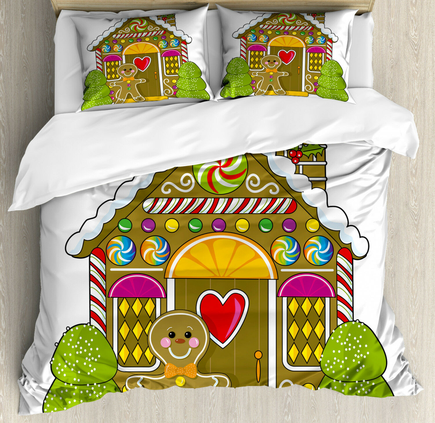 Gingerbread Man Duvet Cover Set with Pillow Shams Candy House Print