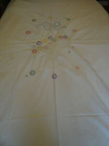 Vintage Hand Embroidered Bed Coverlet Floral Design Cotton 81 x 93