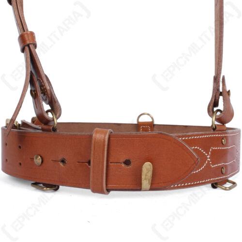 Brown WW1 WW2 Army Military Brass Officer New British Sam Browne Leather Belt