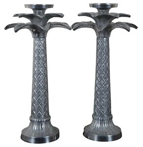 """2 Vintage Silver Tone Palm Tree Candlesticks Candle Holders Pair India 18"""""""