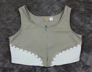 Wrangler-Womans-Vtg-Crop-Vest-Tan-Zipper-XL-Cowgirl-Western-BoHo-Cotton-EE