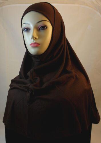 Brown Color New Two Piece Egyptian Cotton Hijab Amira Islamic Head Scarf Hejab