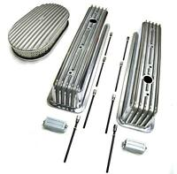 Sbc 350 Chevy Tall Polished Aluminum Finned Valve Covers & 15 Air Cleaner Kit