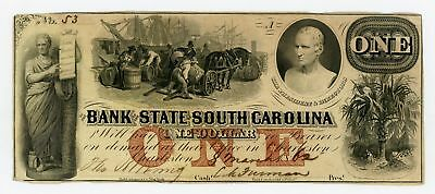 1862 $1 The Bank of the State of SOUTH CAROLINA Note - CIVIL WAR Era w/ SLAVES
