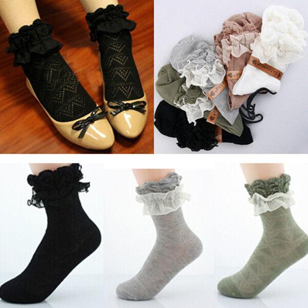 Fashion Lady Girls Sweet Retro Lace Ruffle Frilly Trim Ankle Short Socks 4Colors