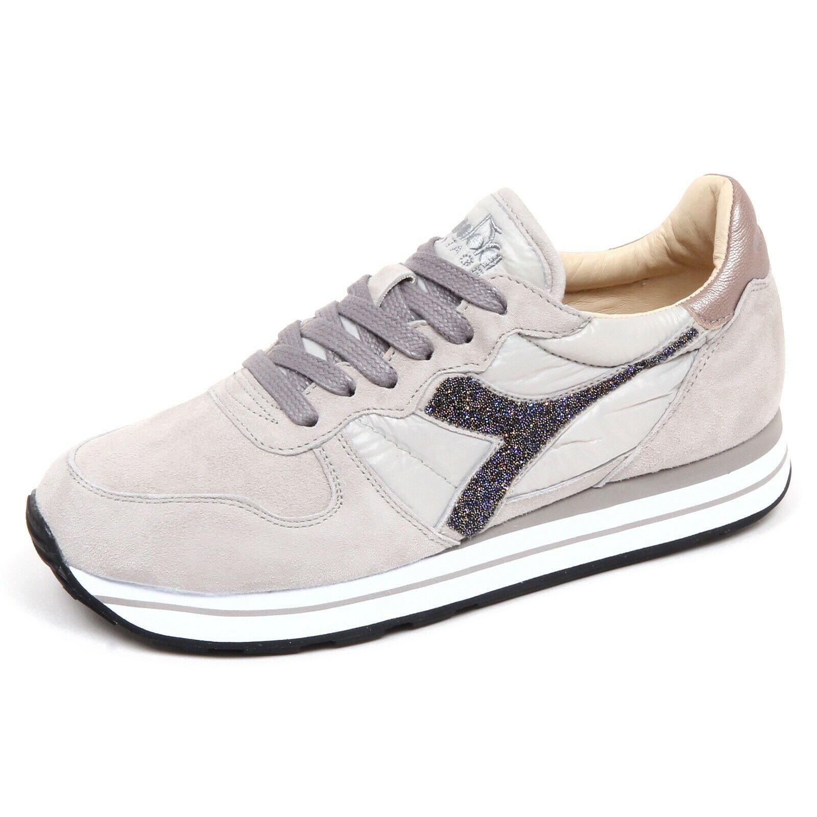 F7684 tenis mujer gris Diadora Heritage Camaro Cristales Zapato Mujer