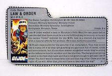 GI JOE LAW & ORDER FILE CARD Vintage Action Figure GREAT SHAPE 1987