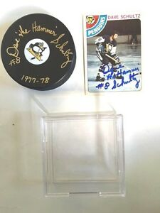 Pittsburgh-Penquin-Dave-the-Hammer-Schultz-Signed-Puck-Case-Hockey-Card