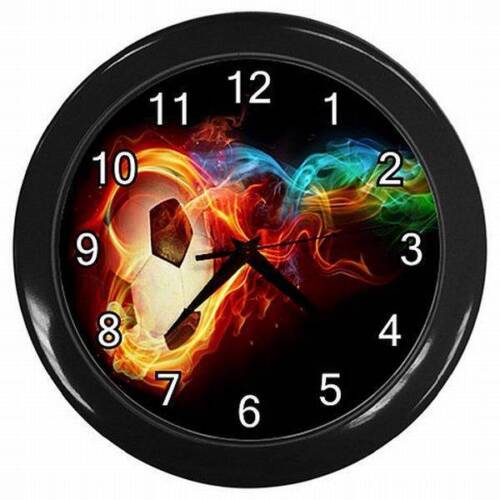 1 of 1 - NEW SOCCER BALL ON FIRE  HANGING WALL CLOCK BEDROOM LOUNGE HOME DECOR OFFICE