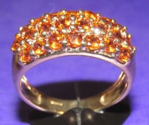 SECONDHAND-9ct-YELLOW-GOLD-MULTI-ORANGE-GARNET-OBLONG-CLUSTER-RING-SIZE-N