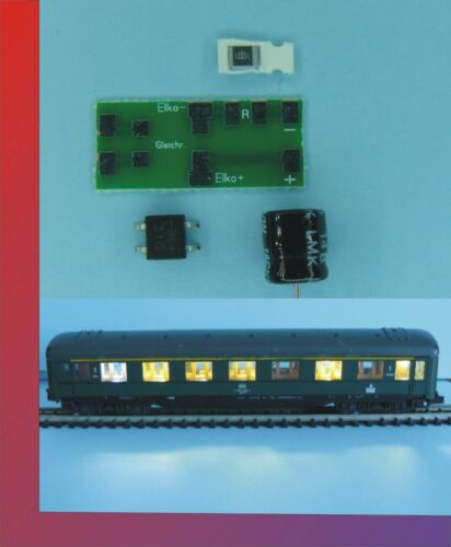 10 x Waggonbeleuchtung Wagenbeleuchtung Spur N/TT komp. Set SMD f. Digital warmW